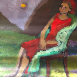 Woman on Green Chair by Homa