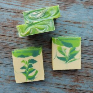 Handmade Green Feather Soap